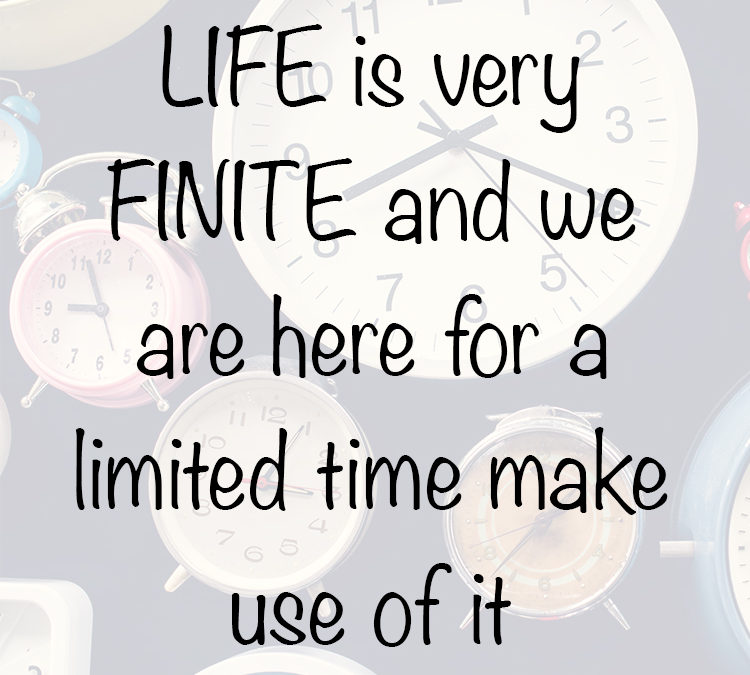 LIFE is very FINITE and we are here for a limited time make use of it